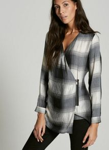 Mint Velvet Zip Front Fine Check Top