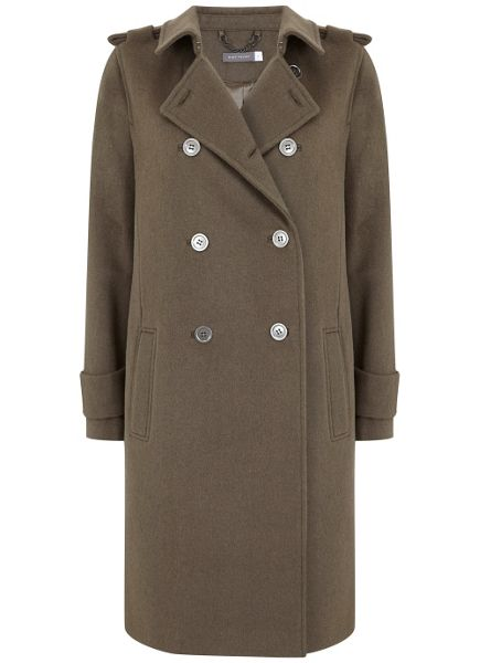 Mint Velvet Khaki Wool Blend Military Coat