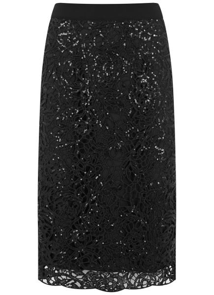 Mint Velvet Black Embellished Pencil Skirt