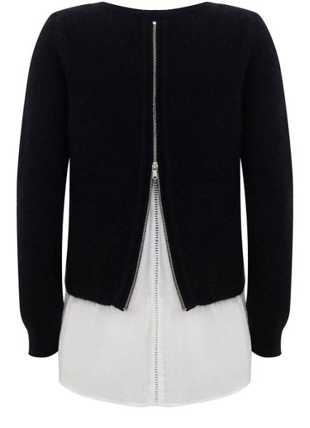 Mint Velvet Navy Zip Back Layered Knit