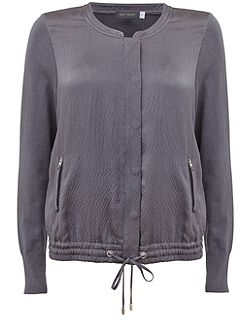 Smoke Hammered Silk Satin Bomber