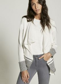 Mint Velvet Neutral Double Layer Fluffy Hem Cardigan