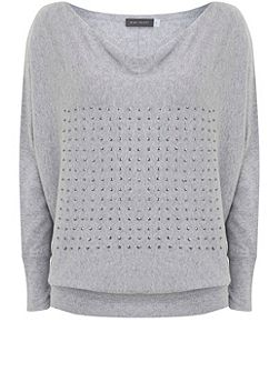 Grey Marl Sequin Batwing