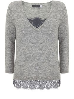 Grey Marl V-Neck Knit With Lace Cami