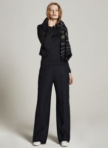Mint Velvet Navy Pinstripe Wide Leg Trouser