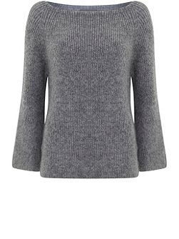 Granite Fluffy Flared Sleeve Knit