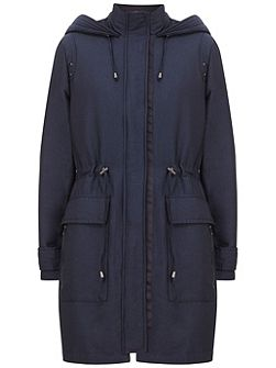 Navy Sateen Finish Parka