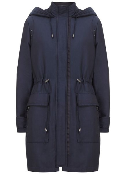 Mint Velvet Navy Sateen Finish Parka