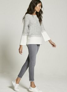 Mint Velvet Grey Flared Sleeve & Rib Knit