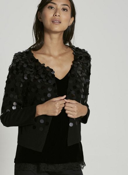 Mint Velvet Black Sequin Cropped Cardigan