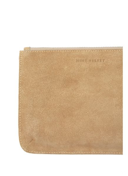 Mint Velvet Gold Small Leather Pouch