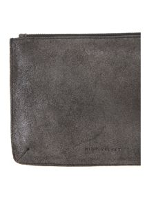 Mint Velvet Gunmetal Small Leather Pouch