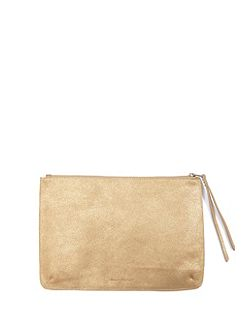 Gold Large Leather Pouch