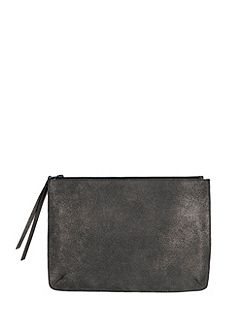 Gunmetal Large Leather Pouch