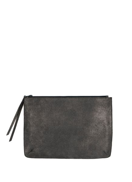 Mint Velvet Gunmetal Large Leather Pouch