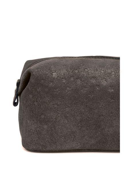 Mint Velvet Gunmetal Star Leather Wash Bag