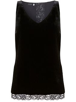 Black Lace Trim Velvet Cami