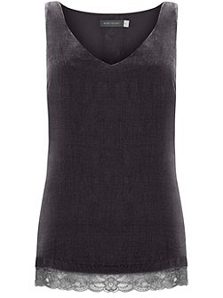 Smoke Lace Trim Velvet Cami