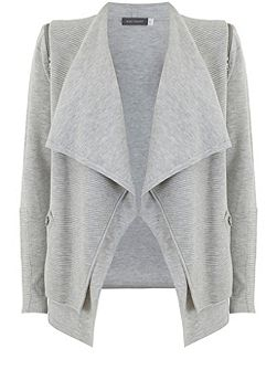 Grey Marl Rib Layered Cardigan