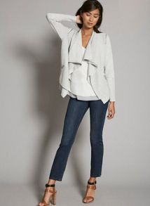 Mint Velvet Grey Marl Rib Layered Cardigan