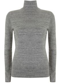 Mint Velvet Grey Marl Slim Fit Polo Neck