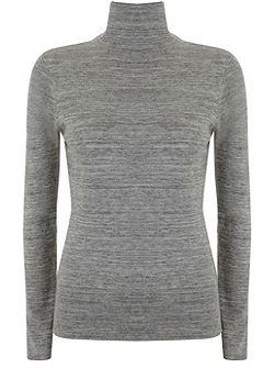 Grey Marl Slim Fit Polo Neck