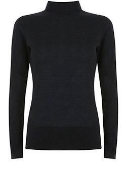 Black Slim Fit Polo Neck Knit