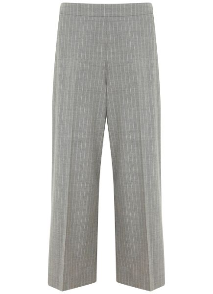 Mint Velvet Grey Pinstripe Crop Wide Leg Trouser