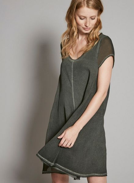 Mint Velvet Khaki Overdye Trapeze Dress