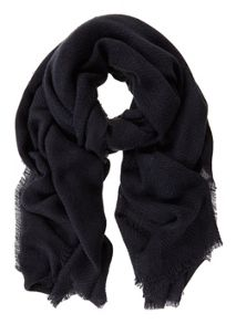 Mint Velvet Navy Plain Textured Scarf