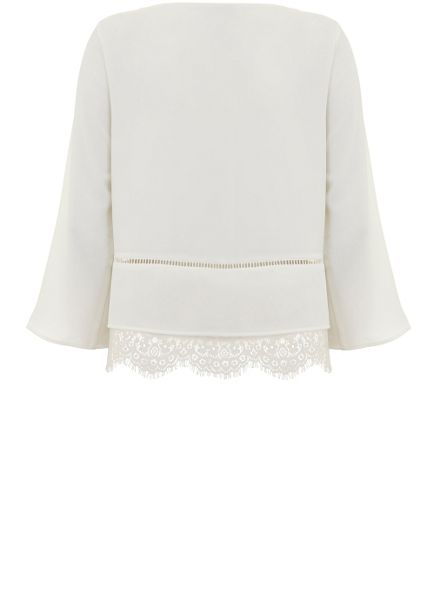 Mint Velvet Ivory Lace Hem Top