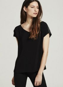 Mint Velvet Black Beaded Shoulder Tee