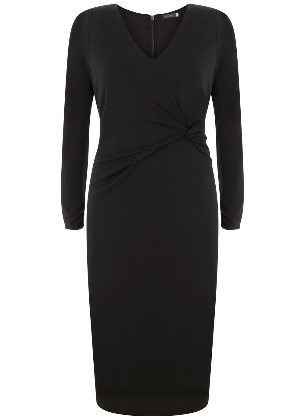 Mint Velvet Black Twist Front Jersey Dress, Black