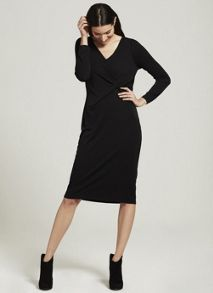 Mint Velvet Black Twist Front Jersey Dress
