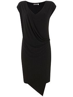 Black Drape T-Shirt Dress