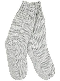 Silver Grey Chunky Slipper Socks