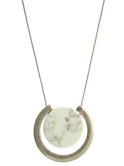 Silver & Neutral Marble Pendant Necklace