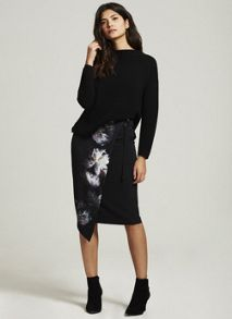 Mint Velvet Luna Print Wrap Skirt