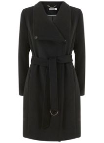 Mint Velvet Black Funnel Neck Coat