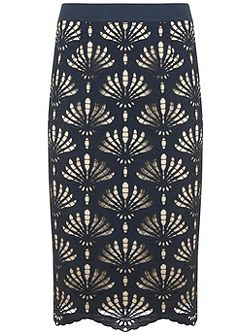 Ink Lace Pencil Skirt