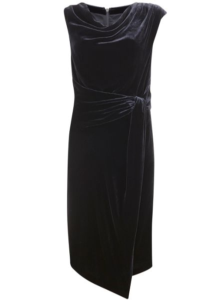 Mint Velvet Navy Velvet Drape Dress