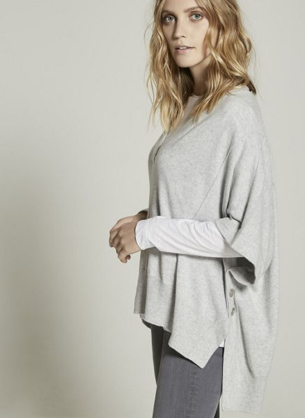 Mint Velvet Silver Grey Button Side V-Neck Cape