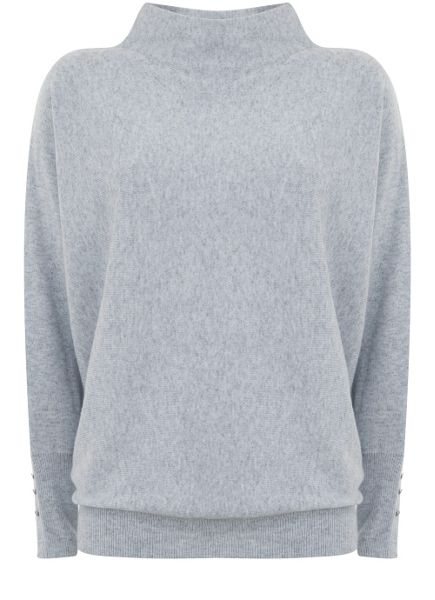 Mint Velvet Grey Grown On Neck Batwing Knit
