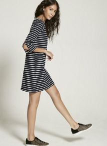 Mint Velvet Ink & Ecru Stripe Split Sleeve Dress