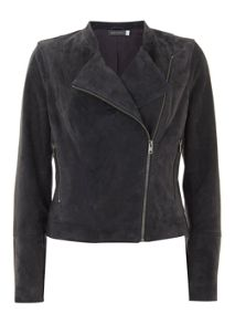 Mint Velvet Granite Suede Collarless Biker Jacket