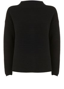 Mint Velvet Black Rib Funnel Neck Crop Knit