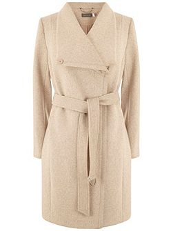 Blush Wool Blend Funnel Neck Coat