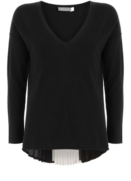 Mint Velvet Black Pleat Back V-Neck Knit