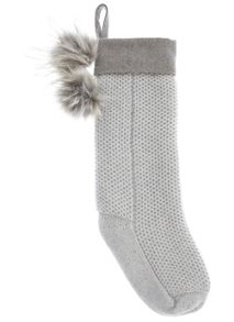 Mint Velvet Silver Grey Christmas Stocking