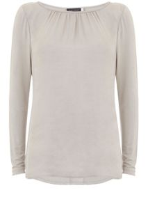 Mint Velvet Chalk Crushed Satin LS Tee